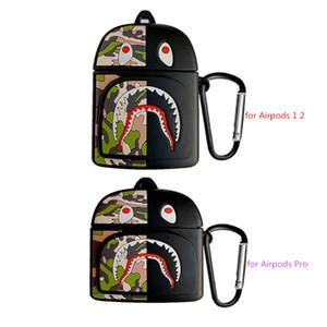 Camouflage squalo sveglio Borse auricolare del fumetto 3D per il caso di Apple Airpods per Airpods 12 coperchio di protezione auricolari wireless con gancio