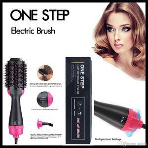 خطوة واحدة فرشاة الشعر الكهربائية 4in1 مجفف الشعر بكرة الشعر الجمال الطراز متعدد الحرارة إعداد استقامة مجعد مشط النساء والرجال