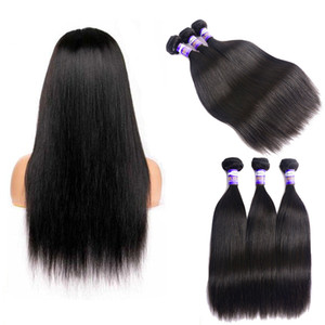 Wholesale Unprocessed Brazilian Virgin Human Hair Natural Black Silky Straight Hair Weaving Weave Wefts 100g Bundles Extension