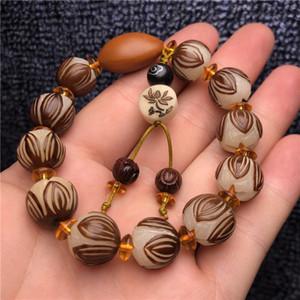 Natural White Jade Bodhi weiße Jade Wurzel Lotus Armband geschnitzt einzigen Kreis ursprünglichen Samen Bodhi Lotus Männer und Frauen Armband 13m