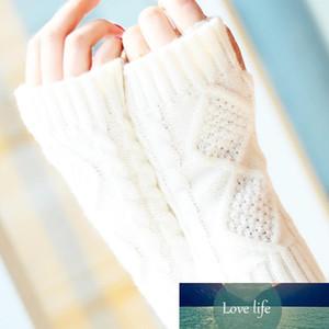 Mode hiver court bras Mitaines solide 20CM tricot chaud printemps laine Mitten Gants Tricot D18110806
