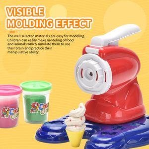 Kit Maker Cream Machine Clay Molde Tool Play Pretend Set Fideos Ice Bud Hecho Hecho A Mano De Desarrollo Piel Cocina Juguete Niños DIY Regalo Lqaom