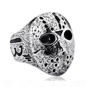 2020Black Freitag Hockey Jason Mask Skull Ring Men Edelstahl-Mann-Silber Halloween Jason Schablonen-Ring