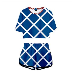 3D Blue and white plaid JOJOs fantastic adventure character suit Exposed Navel T shirt shorts womens girls 3D JOJO two piece