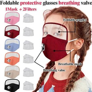 Kids Mask 2 in 1 Face Masks Eye Protection Face Shield Children Breath Valve Masks Dustproof Protection Mouth Cover With 2 Filter YYD1945