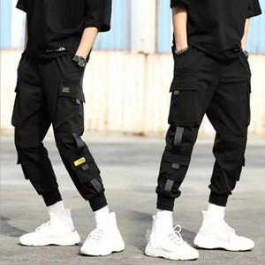 Pantalones para hombre de cargo ocasional de los hombres respirables del tobillo del lazo del lazo del bolsillo de Carga Novena Pantalones Casual Estilo
