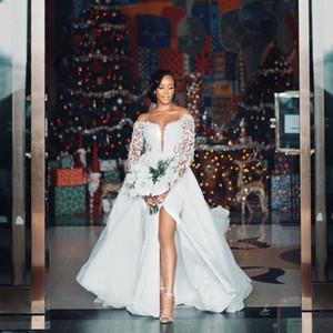 African Long Sleeves Wedding Dresses Detachable Train Lace Appliqued Bead Plus Size Wedding Gowns High Split Vestidos De Novia