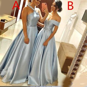 Two Difference Neckline Evening Dresses with Sash Long Ruched Satin A Line Vestidos De Novia Zipper Back Bride Prom Gowns