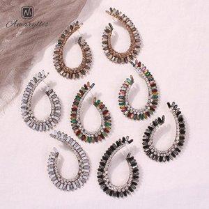Amaiyllis Große hohle Metallwassertropfen-Bolzen-Ohrringe für Frauen-Partei Strass Statement Ohrringe Vintage Geometric 4fpI #