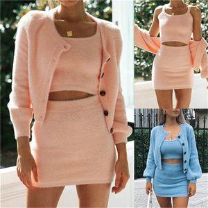 Осень Женщины платье наборы Sexy Crop Top Mini юбка Set Street Style Женщины Двухкусочный Костюмы женщин Дизайнер одежды