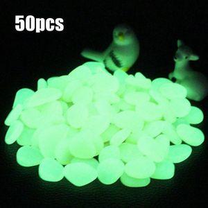 50pcs luminoso guijarros decoración del acuario fluorescencia acuario de peces de piedra tanque decoración brillan en la oscuridad de la decoración