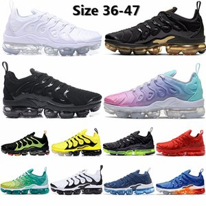 2020 Size 13 Triple Black Tn Plus Vapourmax Running Shoes Metallic Gold Zebra Active Fuchsia Spirit Teal Cushion Sneakers Men Trainers 36-47