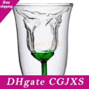 Gül Şekli Kupa Çift Duvar Tasarım Kokteyl Şampanya Cam Şarap Kupası Temizle Suyu Kahve Mugtea Bira Viski Cam Mug Drinkware Lover Hediye