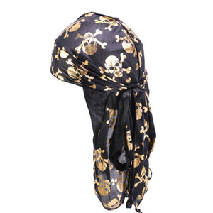 Шелковый длинный хвост шарф Cap Pirate Hat Multi цветов мягкий сатин Durag Bandanna Turban для женщин пират EWE1222