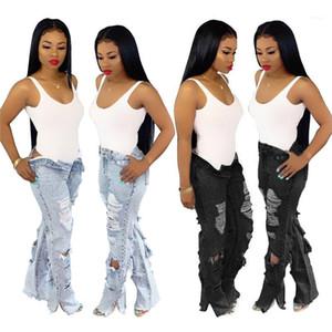 Las niñas de la cintura de la manera Pantalones para mujer de la cremallera del botón Fly Jeans Primavera Pantalones rectos Agujero Jean largas