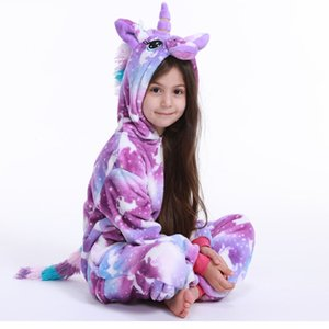 Flannel animal Children Pajamas Set Winter Hooded Animal Unicorn Cartoon Kids Pajamas For Boys Girls Sleepwear Onesies 200922