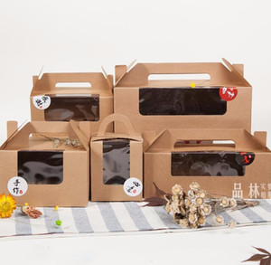 Portable Kraft Paper Single cupcake cake box with window,2 cupcake packaging box with handle,handheld Muffin 6 craft