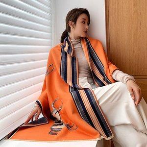Animal Print inverno sciarpa di cachemire donne 2020 Nuovo caldo di spessore scialli e gli involucri del progettista di marca cavallo Stampato Pashmina Coperta del Capo