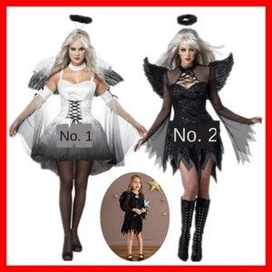 pchog de Halloween traje de ángel demonio traje Negro gris blanco padre-hijo Headwear de prendas de vestir ropa de niños adultos con alas de ángel headdre