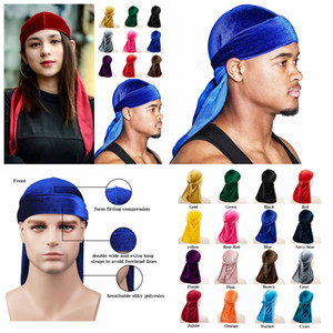Unisex Velvet Durags Bandana Turban Hat pirate caps Wigs Durag Biker Headwear Headband outdoor sport Hat Hair Accessories FFA4398-5