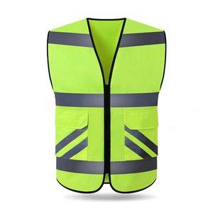 Riflettente giro in auto gilet gilet indumento fluorescente gilet giacca sportiva del club sfoderato superiore può essere stampata T191029