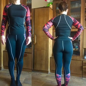 Womens Suit Sportswear Compression Winter Tracksuit Jogging Pants Women Thermal Underwear Set S 4XL size Woman Running Tights