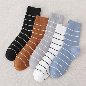 Hommes Sock rayé Chaussettes unisexe Crew Casual solide adulte Coton Mode Tendance Automne Hiver coréenne affaires Sokken