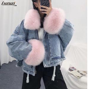 Luzuzi 2020 en vrac d'hiver Veste en denim femmes surdimensionnée col de fourrure plus de velours doudounes Vintage coton chaud épais manteau Jean