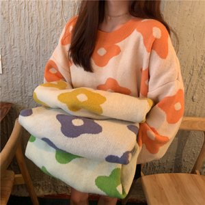 Winter Sweet Cute Long Sleeve Sweater 2020 Korean Flower Knit Women Sweater Autumn Casual Pullover Loose Sweaters Top