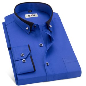 MACROSEA Men's Business Dress Shirts Male Formal Button-Down Collar Shirt Fashion Style Spring&Autumn Men's Casual Shirt