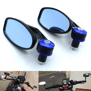 "Universal 7 8"" 22mm Motorcycle Mirrors Rear View Handle Bar End Rearview Side Mirrors Oval For Yamaha FZ6 FAZER FZ6R FZ8 FZ1 FAZER XJ6"