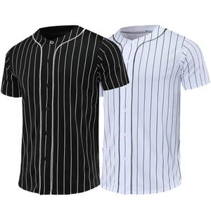 무료 사용자 정의 한 접점 남자 농구 유니폼 유니폼 블랙 화이트 스트라이프 저지 스트리트 힙합 T 셔츠 야구 유니폼 티 Y200824 탑