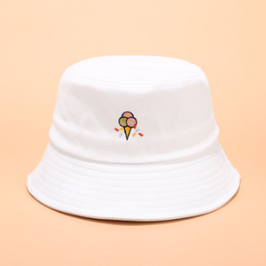 Bucket Hats Cute Fun Ice Cream Embroidery Fisherman Hat Outdoor Leisure Sunshade Cap Bucket Hat Free Shipping