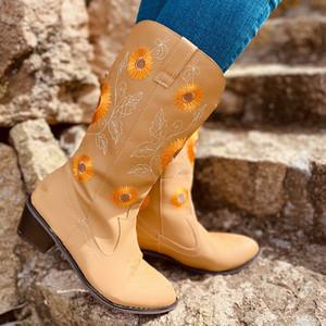 2020 El yapımı deri Uzun Patik Kadınlar Yüksek Kovboy Çizmesi Günlük Ayakkabılar İşlemeli Bayan Çizme Retro Diz Yüksek
