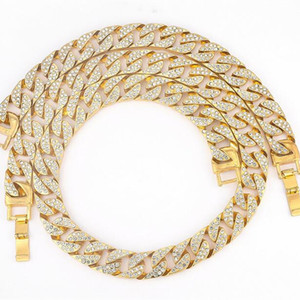 Miami Cuban Link Chain Necklace Bracelets For Mens Bling Hip Hop iced out diamond Gold Rapper Chains Women Luxury Jewelry