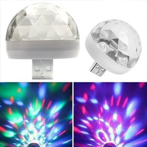Mini USB RGB LED Disco Lighting Ball Crystal Atmosphere Car Light Home Party Family Party Stage Portable Multicolor Lamp Ball