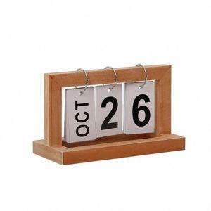 Desktop Modern madeira Advent Table Desk Calendar Wood Block Planer Permanente de desktop Organizador Agenda SSPs #