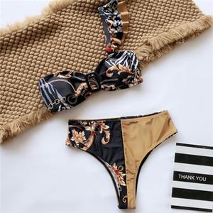 Print Shoulder Bikinis Designer Padded Push Up Women's Swimwear Outdoor Bandage Beach Swimsuit Indoor Bathing Wear