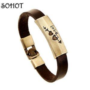 Bronze Sohot Bracelets romantique bijoux en cuir véritable Antique couleur Pulsera Bracciale Accessoires