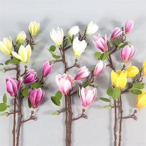 """10P Latex Magnolia (4 головки / шт) 25,59"""" Моделирование Real сенсорной Магнолия голая для свадебных дома Декоративных искусственных цветов"""