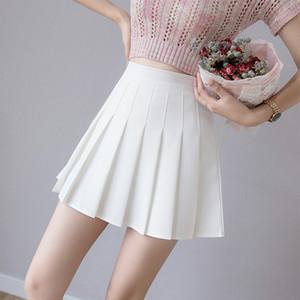 Cremallera de muy buen gusto falda de la danza muchachas del estilo zoki atractivo de las mujeres falda plisada verano de cintura alta elegante una línea rosada de las señoras mini falda coreana