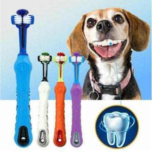 الوجهين الكلب لينة فرشاة الأسنان الحيوانات الأليفة ثلاثة الأسنان المطاط فرشاة الفم النظيفة رائحة الفم الكريهة أداة الأسنان الأسنان فرشاة العناية أدوات مستلزمات الحيوانات الأليفة الكلب AHF779