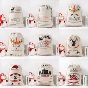 2020 Santa sacos 50 * 70CM puro algodão lona saco do boneco de neve de doces bonito presente de Natal Papai Noel veados Santa saco Enfeites pingentes