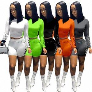 Женщины из двух частей Эпикировка конструктора с длинным рукавом Футболка Set Bodysuit Tracksuit Sportsuit Шорты Брюки Спортивный костюм Solid Color 808 Ry6b #
