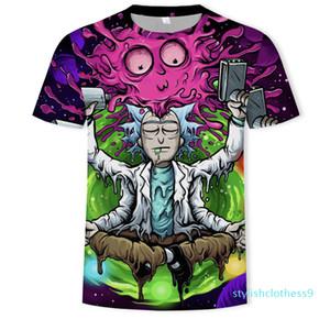 Rick e Morty Printed Shirts Mens Stylist 3D Camiseta Verão engraçado Anime Tops Mens manga curta s09