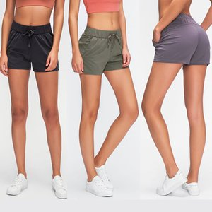L-62 summer new double-sided nylon yoga shorts women high waist hip training fitness running sports leisure shorts women