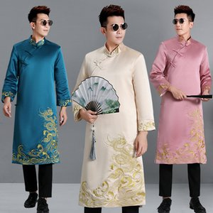 Tang traditionnelle Costume Hanfu Robe longue partie qipao pour homme embroedered dragon mâle Robe stade film usure Performance costume TV