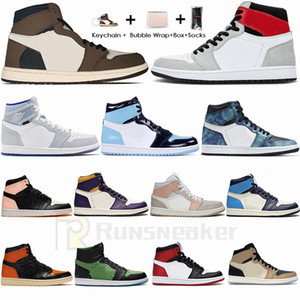 Tênis Nike Air Jordan Retro 1 Tamanho 36-47 Com Box Socks Jumpman 1 1s Tênis de basquete masculino Travis Scotts Obsidian UNC Sports Trainers tamanho 13