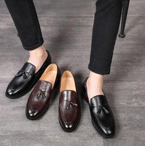 hombre del diseñador de los zapatos ocasionales de cuero del diseñador adultos sociales mocasines de conducción de la moda vestido de los hombres