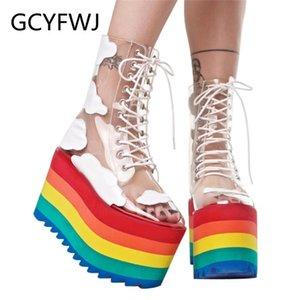 GCYFWJ 2020 Regenbogen-Absatz-Frauen-Stiefel Transparent PVC Leder Schnürsenkel Schuhe starke untere Mode Nachtclub Kuchen Bottom Female Botas